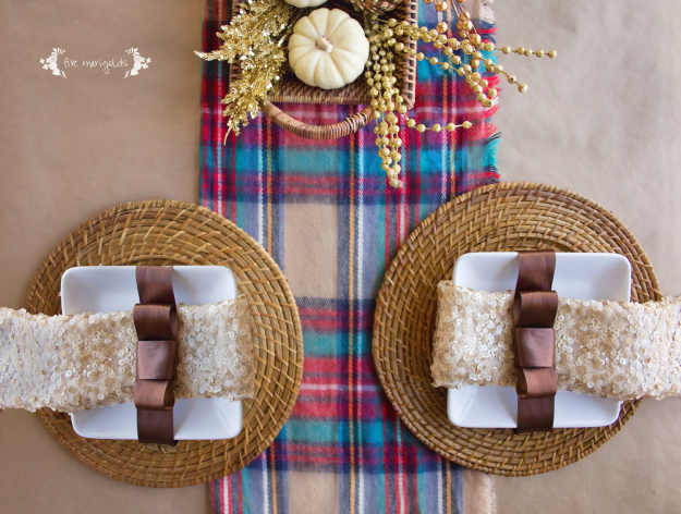 Casual Fall Thanksgiving Tablescape with Plaid, Butcher Paper and Sequins | Five Marigolds