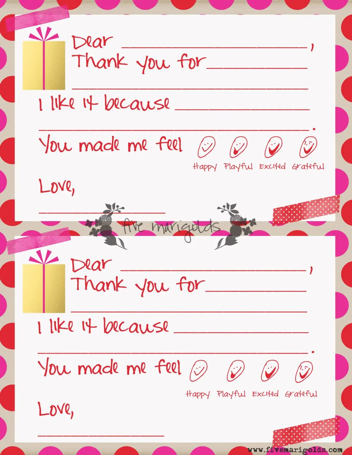 This is an image of Fabulous Free Printable Thank You Notes