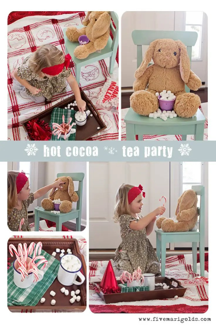 "Host a winter hot cocoa ""tea party"" for kids, Christmas Style. Just grab an old comfortable quilt, marshmallows, candy canes , and a few fuzzy friends."