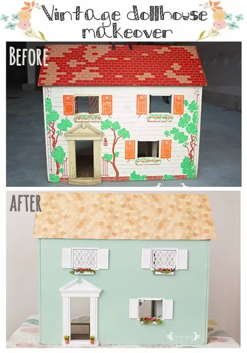 Vintage Dollhouse Makever Before and After | www.fivemarigolds.com