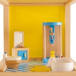 Hape Furniture. VIntage Dollhouse Remodel: Bathroom and Laundry Room for less than $10 | www.fivemarigolds.com