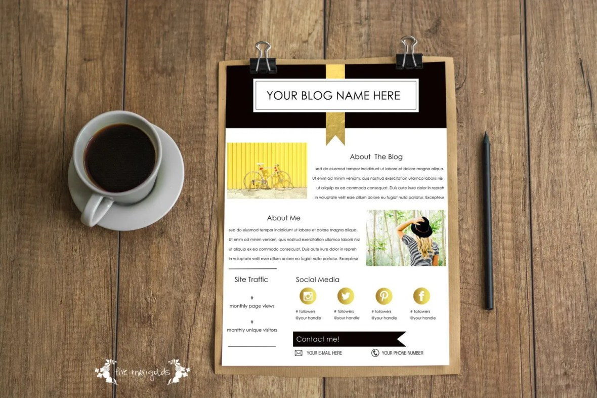 Free Media Kit Template For Bloggers Five Marigolds