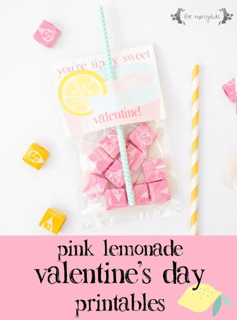 Simply Sweet Pink Lemonade Valentine's Day Printable | www.fivemarigolds.com