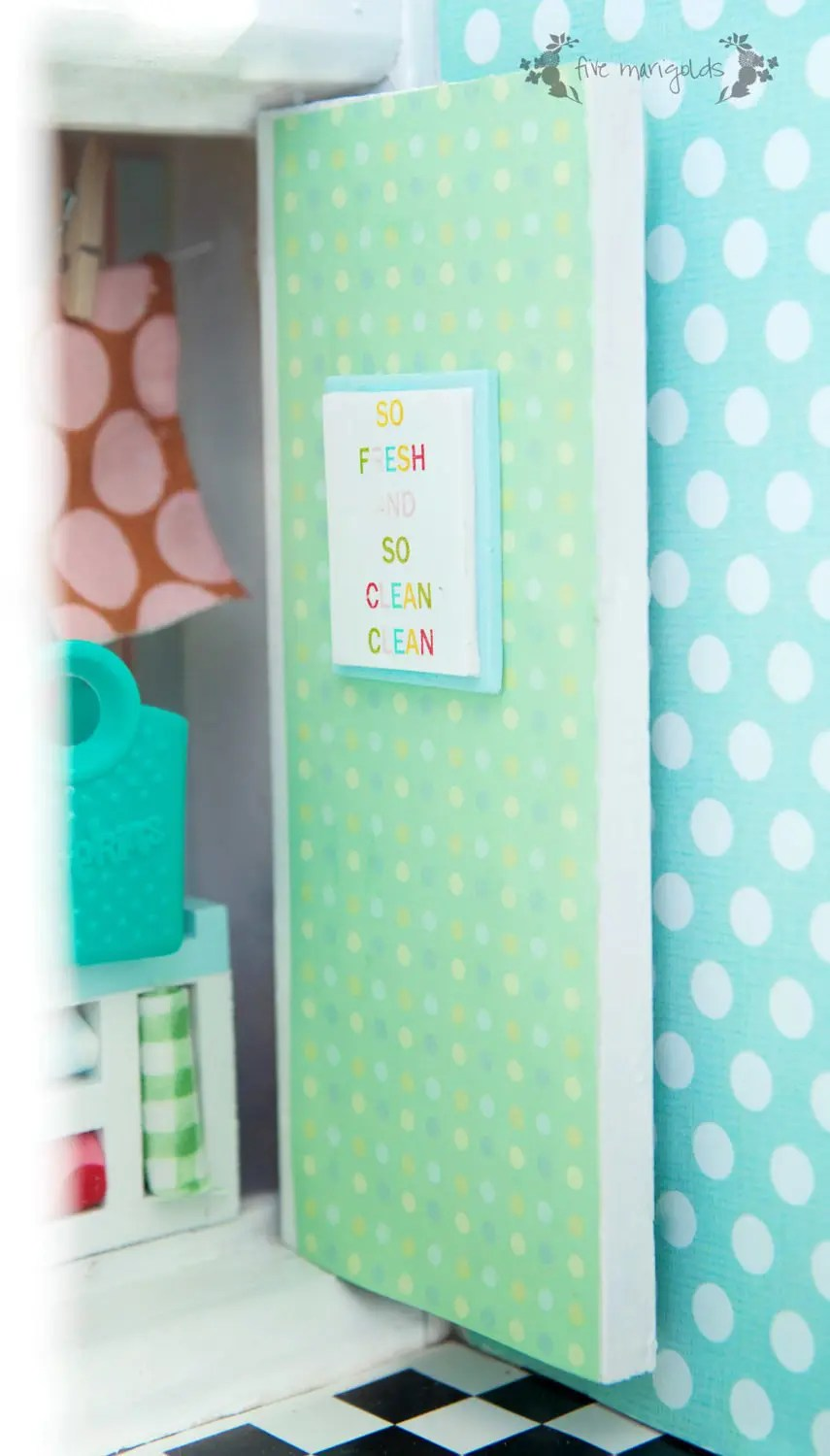 Vintage Dollhouse Remodel: Bathroom and Laundry Room | www.fivemarigolds.com
