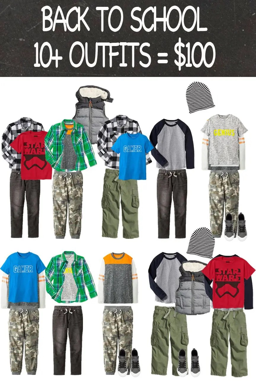 Back To School Wardrobe for Boys - Capsule Wardrobe under $150 | Five Marigolds