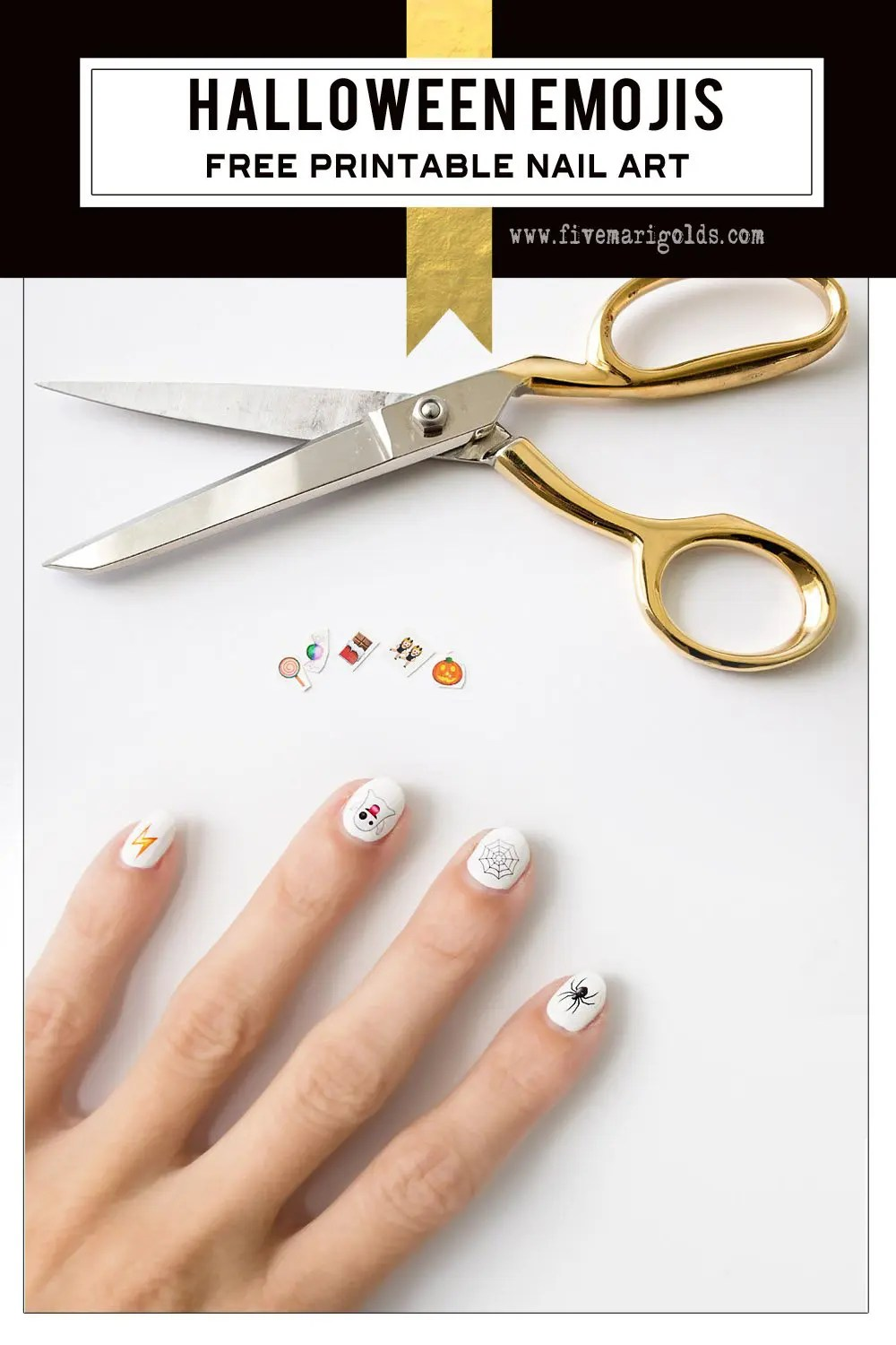What a neat idea! Use tattoo paper to make nail art. Halloween Emoji nails.