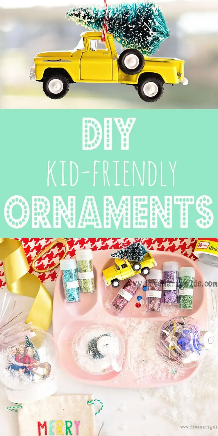 DIY Christmas Ornaments for Kids: Snowglobes, Christmas Tree Truck, sequins and sparkles. #RollAwayLint #ad