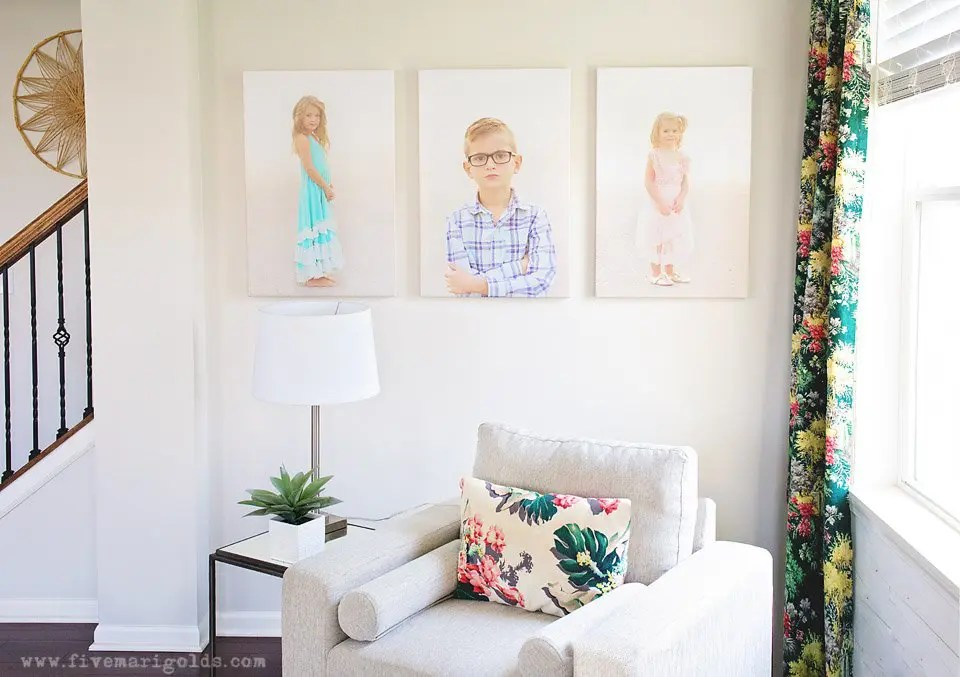 Clean and Colorful Living Room Makeover. Stikwood Wall in Hamptons.