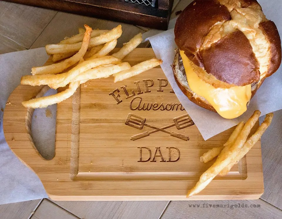 Beer Cheese Burgers with Onion Rings and Cheese Fries | Five Marigolds