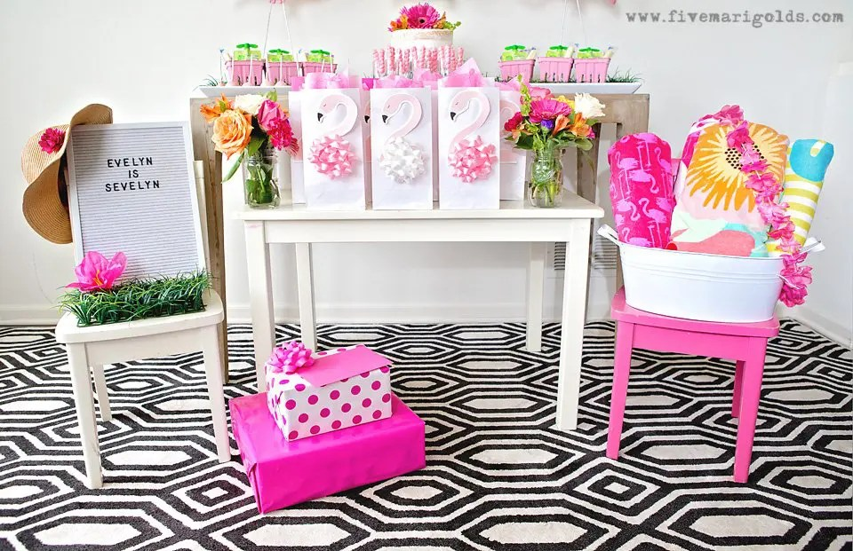 Girly Pink Flamingo Birthday Party - tropical pool party for girls with DIY tutorials for easy Flamingo Favor bags and bow napkin rings   Five Marigolds