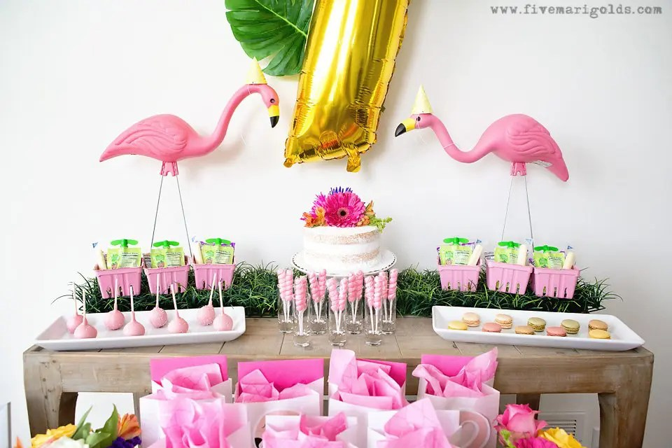 Girly Pink Flamingo Birthday Party - tropical pool party for girls with DIY tutorials for printable Flamingo Favor bags and bow napkin rings | Five Marigolds