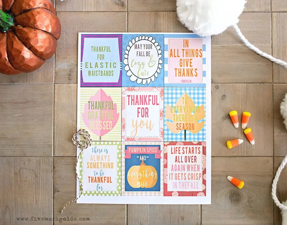 Inspirational and fun free printable Thanksgiving Favor Tags. | Five Marigolds
