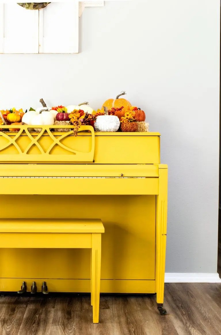 Yellow Piano with Fall Decorations