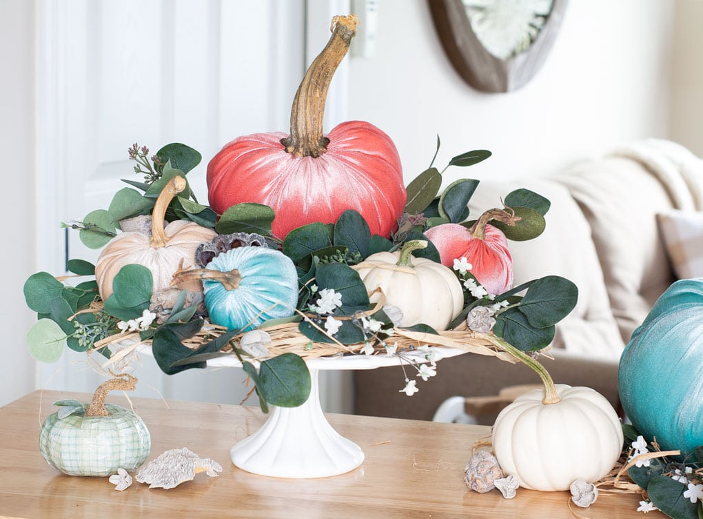 DIY Velvet Pumpkin Centerpiece for Fall