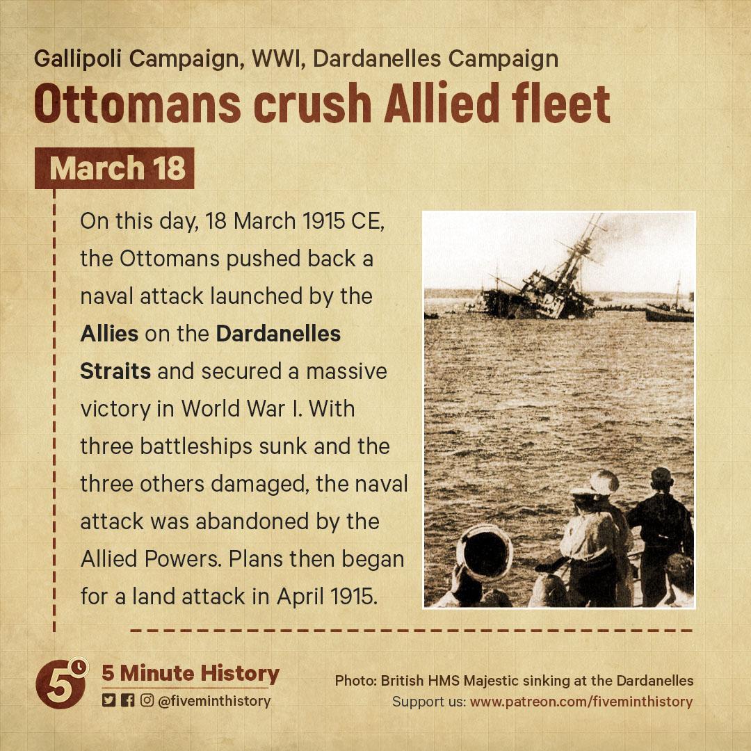 Ottomans crush allied fleet, Dardanelles Campaign