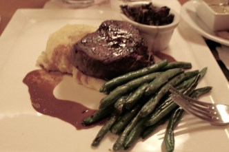 Herb-Salt Seasoned Beef Tenderloin with Garlic Green Beans, whipped Potato puree, and Sauce Bordelaise