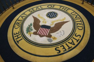 The Great Seal of the United States on display in the Hall of Presidents