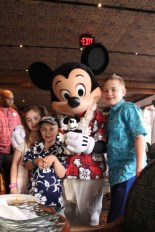 The kids and Steamboat Willie with Mickey