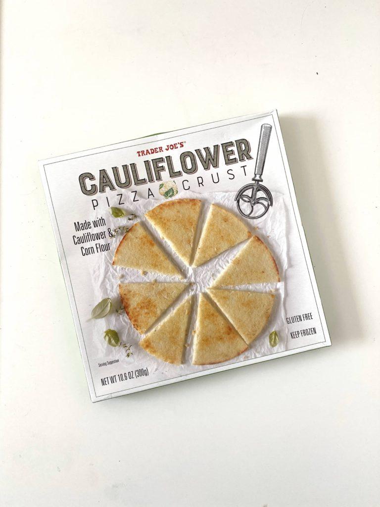 Favorite healthy Trader Joe's freezer items for quick meals: Cauliflower Pizza Crust / Five Plates blog