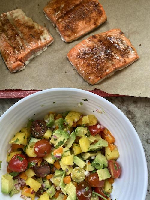 Salmon with pineapple avocado salsa. FivePlates.com