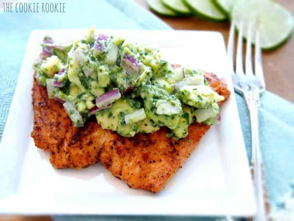 Salmon with avocado salsa: an easy, quick, healthy dinner idea.