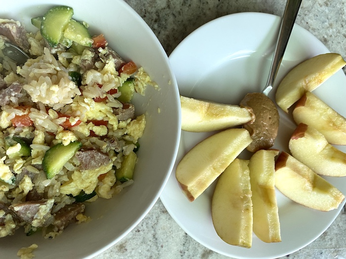 Lunch Idea Scrambled Eggs with Veggies and Brown Rice with Apple and Peanut Butter