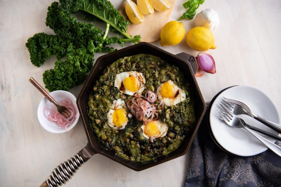 Pesto Shakshuka one-pan dinner recipe that's easy, quick and delicious.