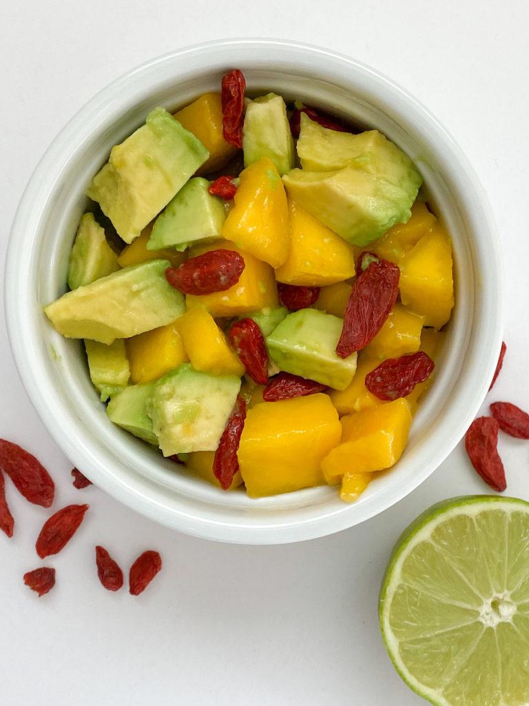 spring meal plan recipe: mango avocado goji berry salsa for burrito bowls, tacos. fiveplates.com