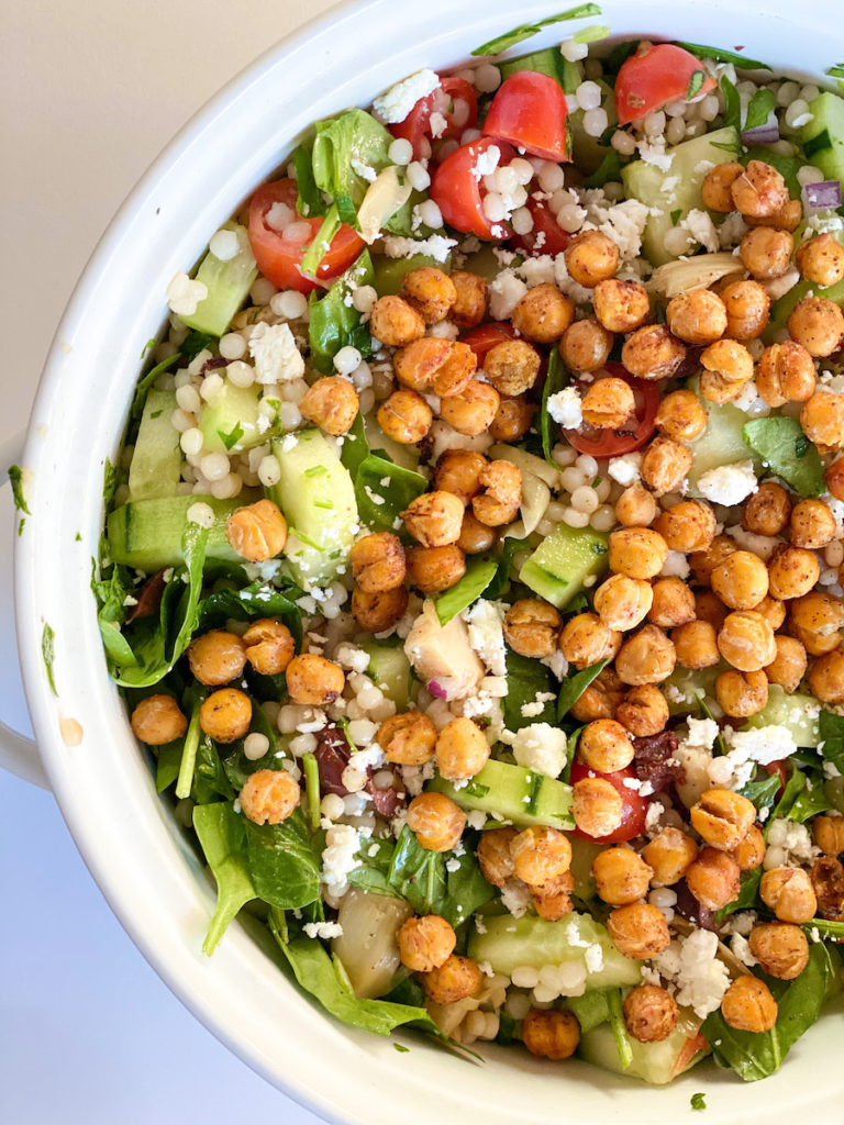 roasted chickpea mediterranean salad, a fueling and energizing salad from the spring meal plan. fiveplates.com