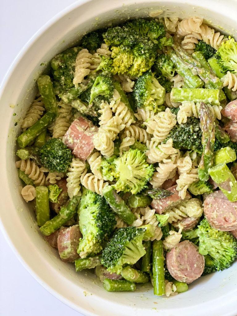 Veggie Pesto Pasta from FivePlates.com: 12 kid-friendly broccoli recipes to try!