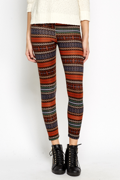 Coloured Aztec Print Leggings MultiPink Just 5