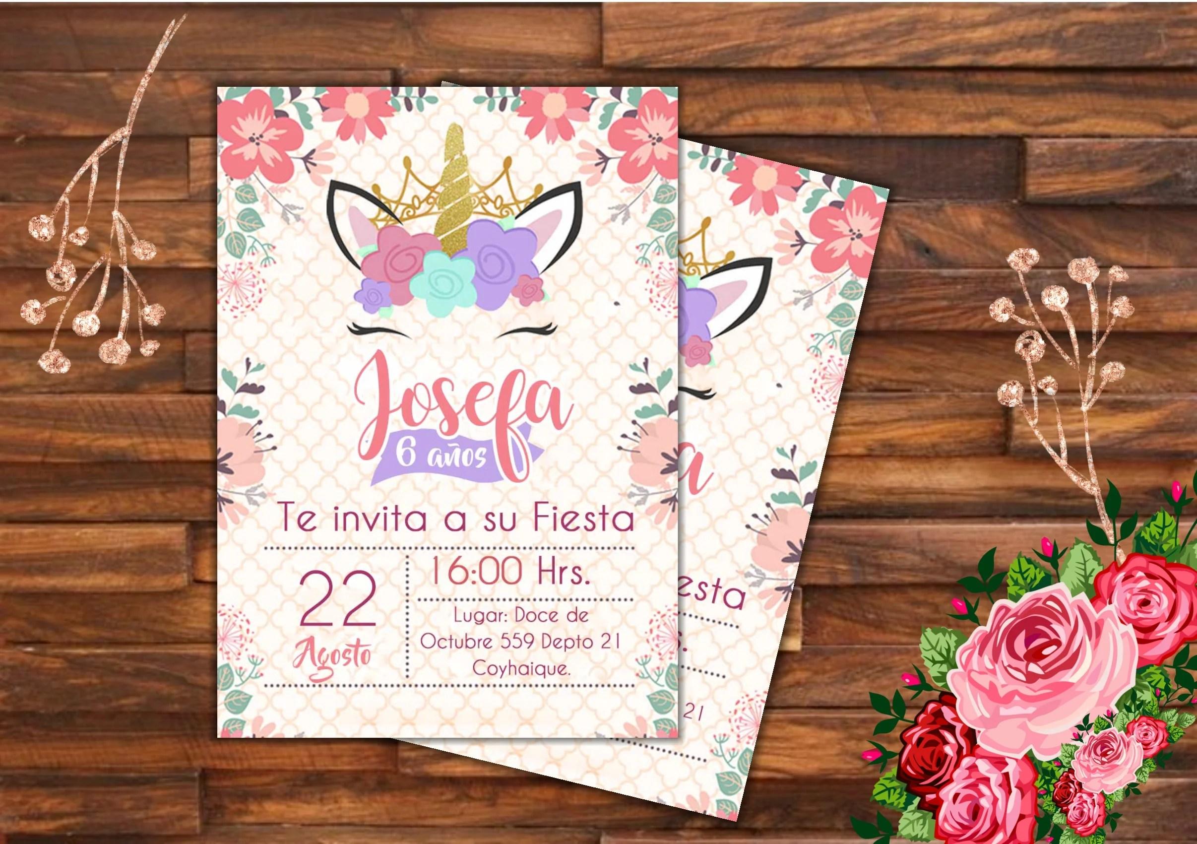 unicorn birthday invitation design by