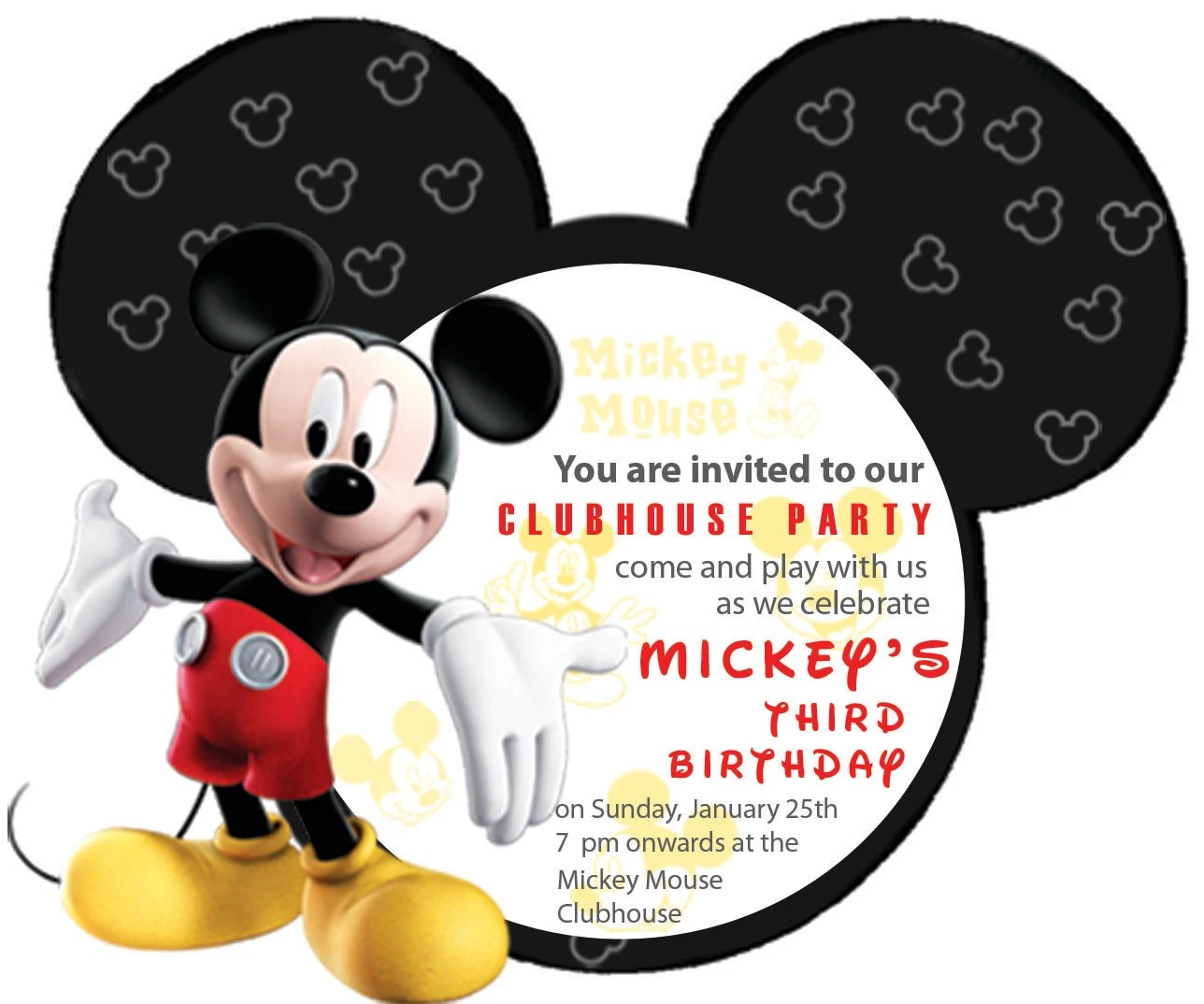 customise this mickey mouse invitation card for your party