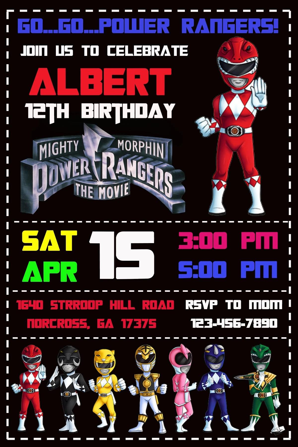 drewshofia i will design a power rangers birthday invitation for 5 on fiverr com