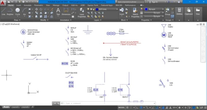 draw your electrical single line diagram in autocad