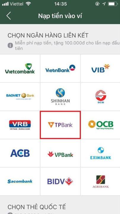 liên kết ví điện tử momo với ngân hàng tpbank