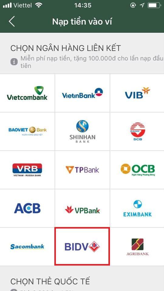 liên kết ví momo với ngân hàng bidv