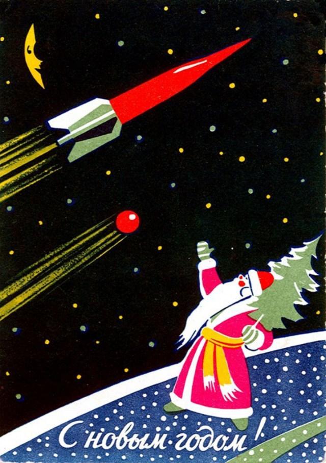 Ded Moroz watches the sky (Image courtesy Katya Zykova, soviet-postcards.com)