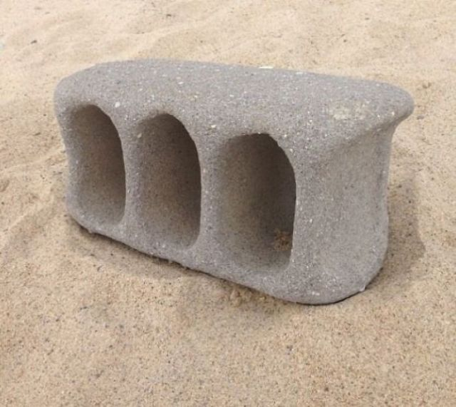 This Cinder Block That Washed Up On Shore After Tumbling Through Ocean Currents