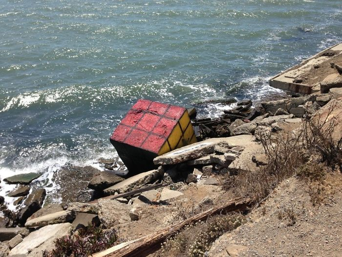 A Giant Rubik's Cube Washed Up On Shore
