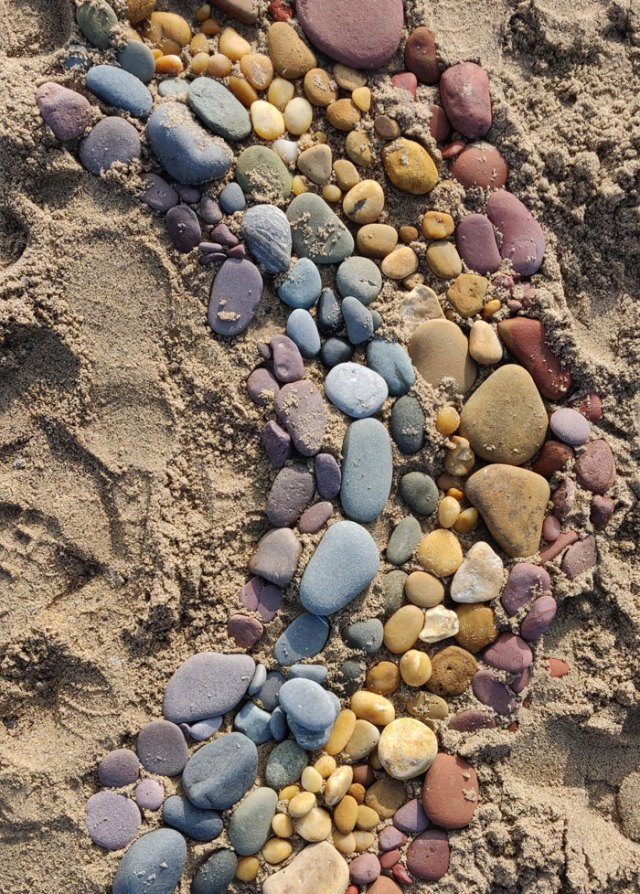 Someone Made A Stone Rainbow On Hornsea Beach, UK