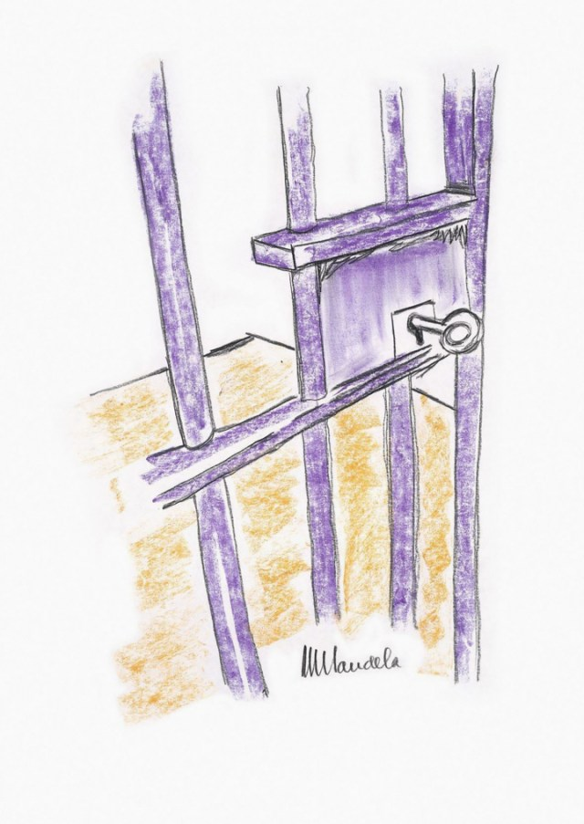 "Nelson Rolihlahla Mandela, ""The Cell Door, Robben Island"" (2002) (image courtesy Bonhams)"