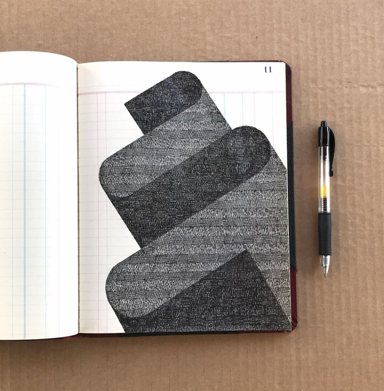 Shadowy Geometric Shapes Rendered with Meticulous Crosshatching by Artist Albert Chamillard