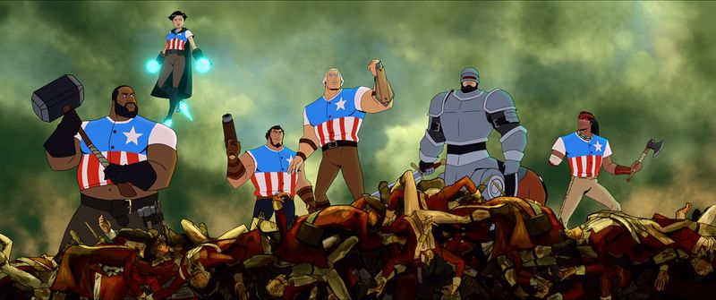Animation of six characters, five in pants and stars-and-stripes shirts and one in armor, standing on a pile of rubble.