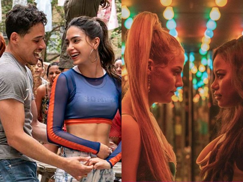 Two images, one from In the Heights and one from Zola. Both are brightly colored pictures of scenes from the movie in which two people look at one another.