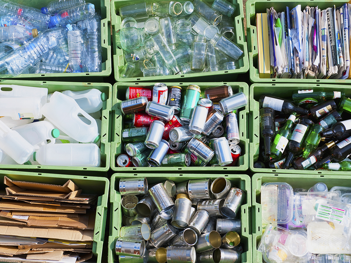 Close up of organized recycling bin