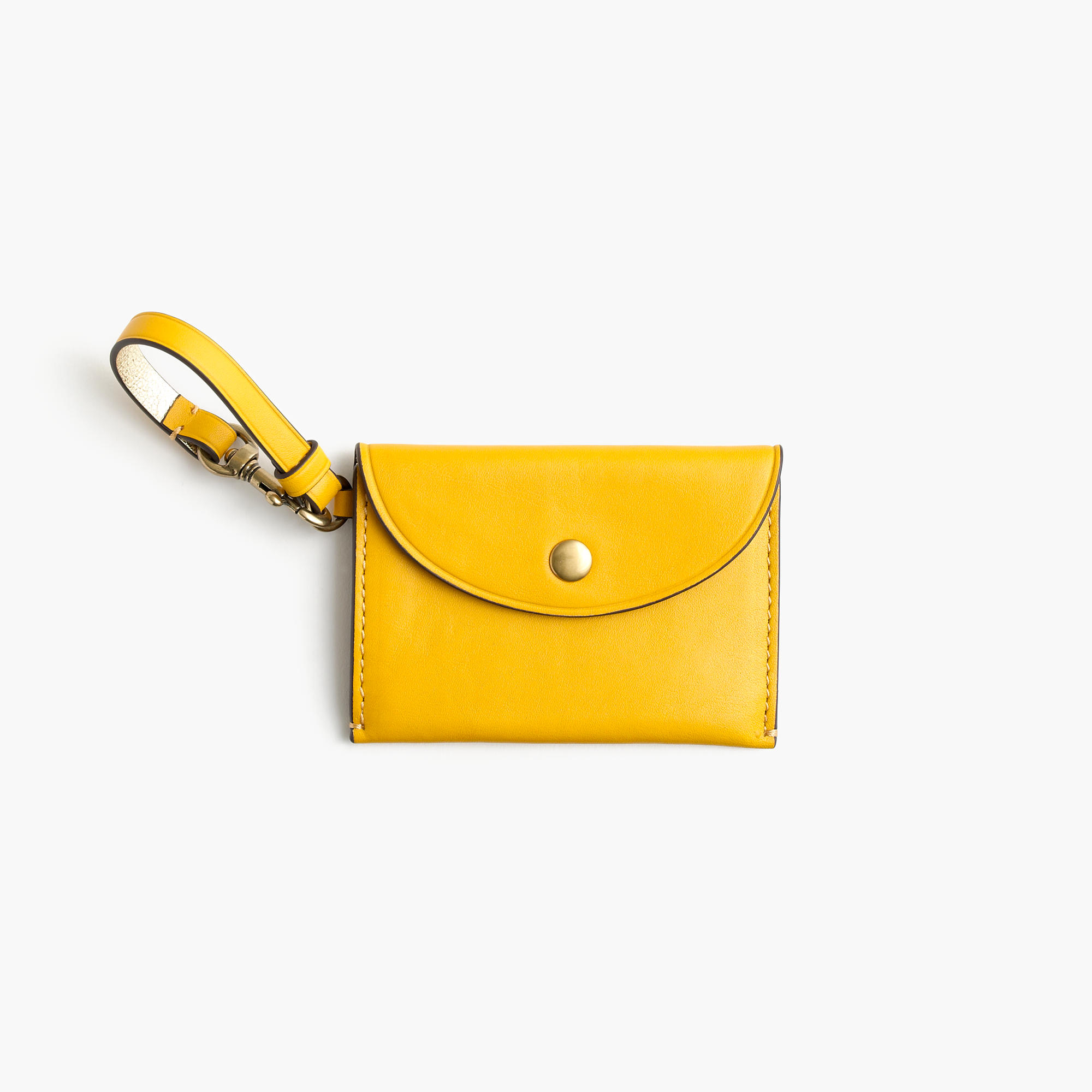 J.Crew Customizable Coin Pouch in Italian Leather, Warm Sunflower