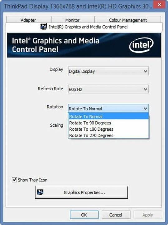 كيفية اعادة شاشة الكمبيوتر الى وضعها الطبيعي للحواسيب العاملة بكارت شاشة Intel