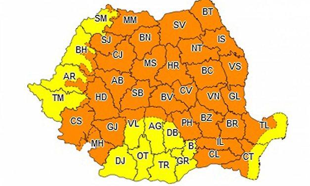 Avertizare meteo cod portocaliu pe tot teritoriul țării