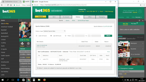 FIXED MATCHES PROOF BET365
